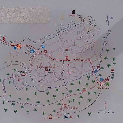 Mapa de los recorridos a pie por Misfat