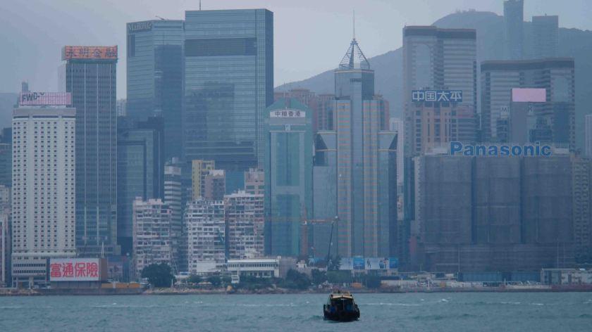 Vistas de Hong Kong desde Hung Hom Promenade